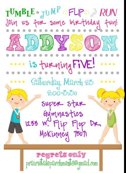 Flip Flop Gymnastics Party Invitation  $17 50, Via Etsy