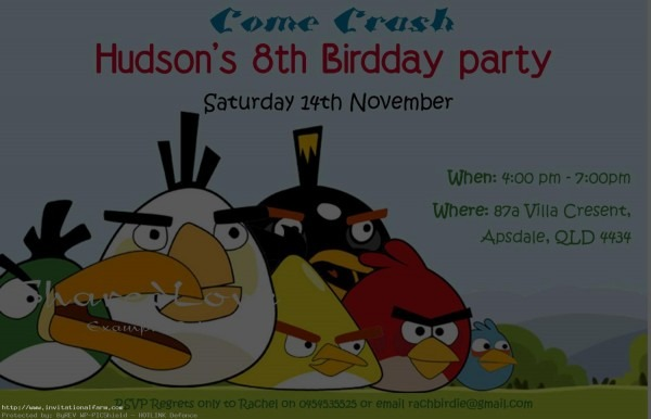 Free Angry Birds Birthday Party Invitations Template
