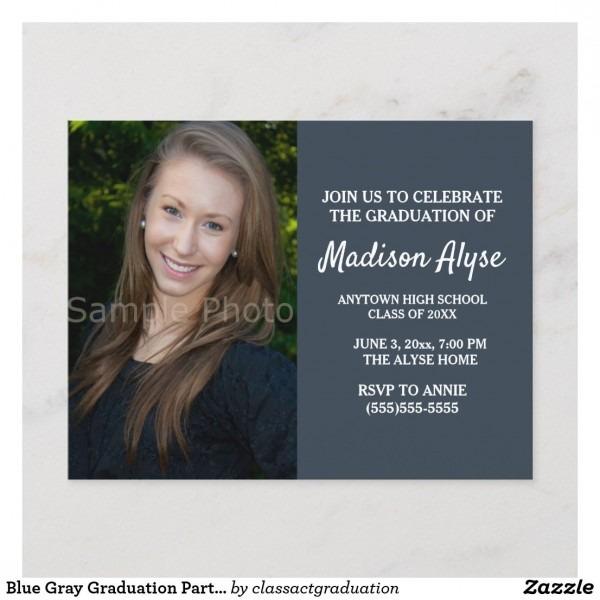 Blue Gray Graduation Party Photo Invitation