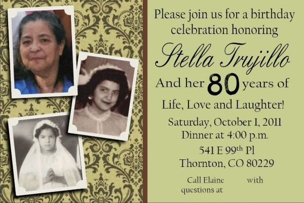 My Grandmother's 80th Birthday Party Invite