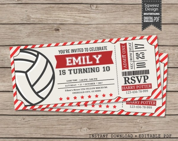 Volleyball Invitations, Volleyball Birthday Invitations