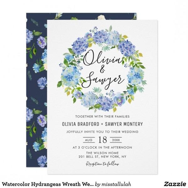 Watercolor Hydrangeas Wreath Wedding Invitation  Weddinginvitation