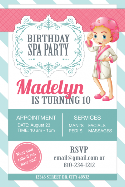 Birthday Spa Party Invitation For 10 Year