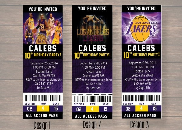 Los Angeles Lakers Birthday Party Invitation Nba By Onthegoprints