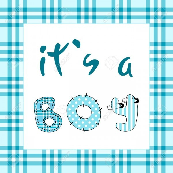 It's A Boy  Baby Shower Invitation Template With Hand Lettering
