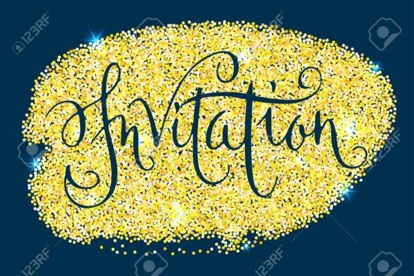 Invitation Word  Hand Written Vector Design Element Over Shiny