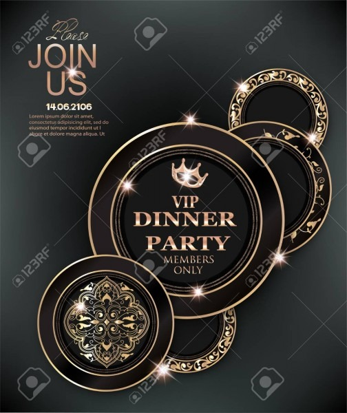 Dinner Party Elegant Invitation Card With Deco Floral Elements