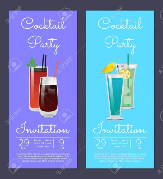 Cocktail Party Invitation Poster With Bloody Mary, Whiskey Or