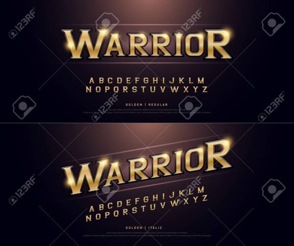 Alphabet Golden Metallic And Effect Designs For Logo, Poster