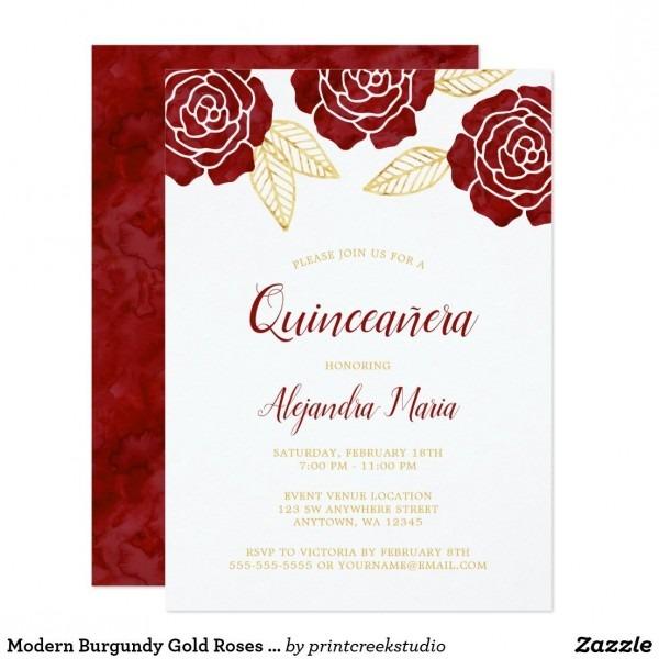 Modern Burgundy Gold Roses Quinceanera Invitations Modern