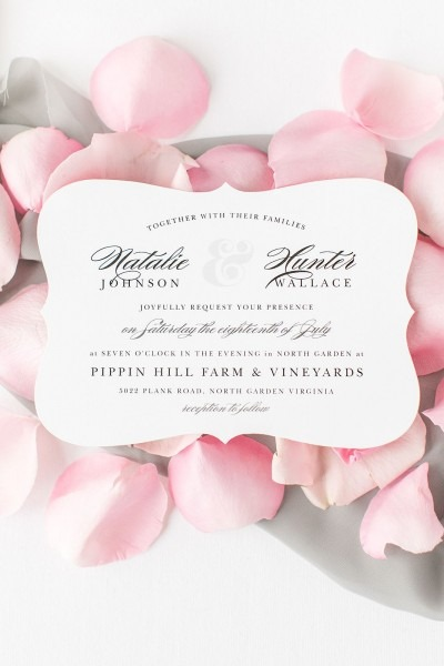 Minimal Ampersand Foil Landscape Wedding Invitations