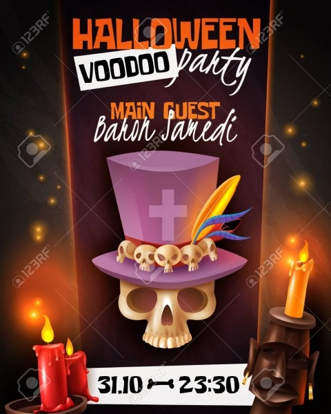 Halloween Voodoo Party Announcement Invitation Poster With Skull