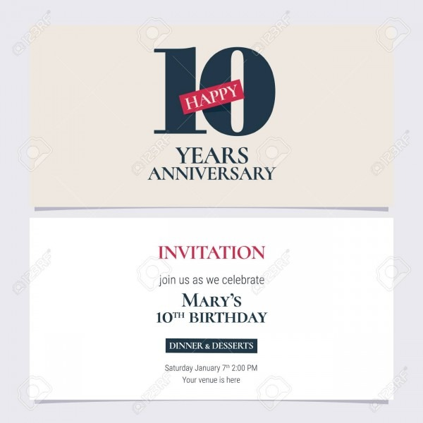 10 Years Anniversary Invitation Illustration  Graphic Design