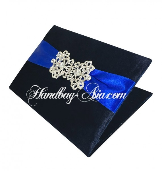 Midnight Blue Velvet Pocket Folio Invitations