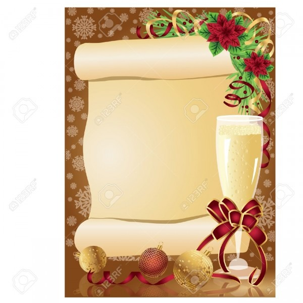 Christmas Card With Scroll, Vector Royalty Free Cliparts, Vectors
