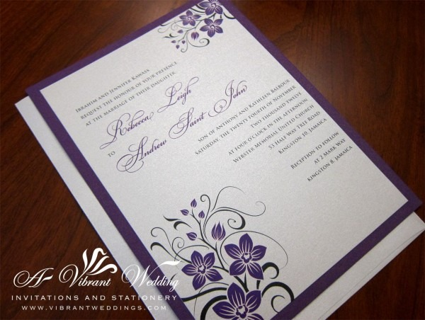 Royal Purple And Platinum Wedding Invitation With Orchid Design