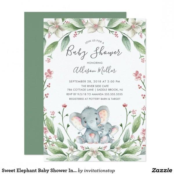 Sweet Elephant Baby Shower Invitation