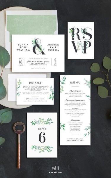Leafy Ampersand Wedding Invitation Suite At Elli Com