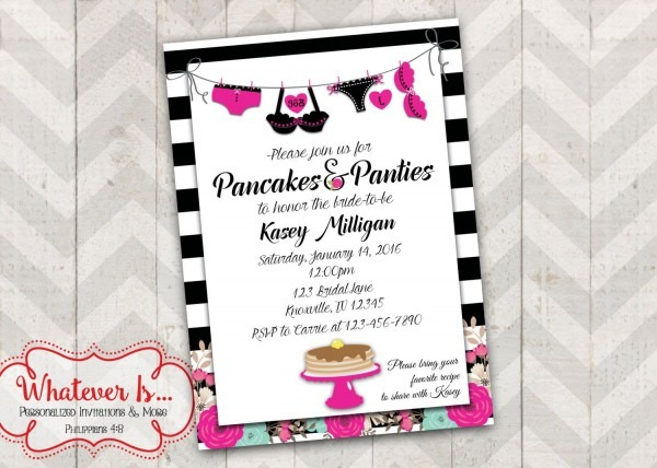 Pancakes And Panties Hot Pink Bridal Shower Lingerie Invitation By
