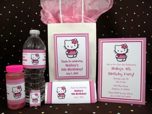 Hello Kitty Flower Birthday Pdf Cd W Invitation Favors Water Candy