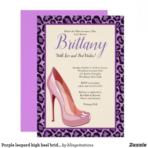 Purple Leopard High Heel Bridal Shower Invitation