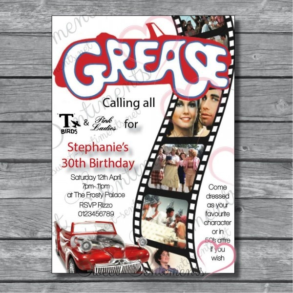 Personalised Grease Retro 80s Adult Birthday Party Invitations