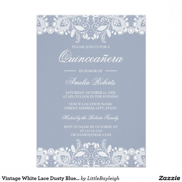 Vintage White Lace Dusty Blue Quinceanera Invite