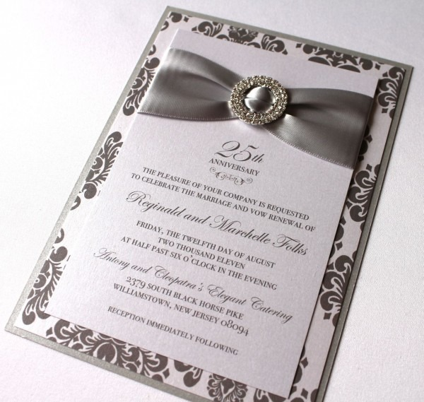 Embellished Paperie  25th Anniversary Invitations, Silver And
