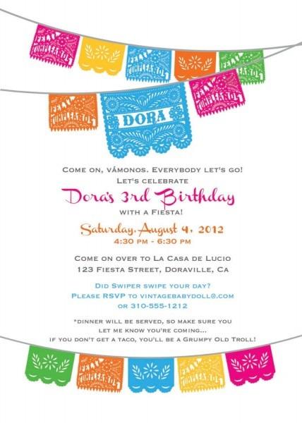 Dora Birthday Fiesta Invitation Cinco De Mayo By Vintagebabydoll