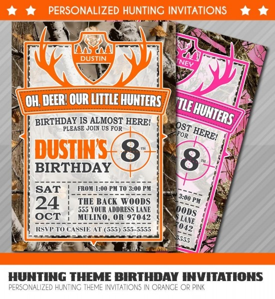 Hunter Birthday Invitations, Little Hunter Birthday Invitation