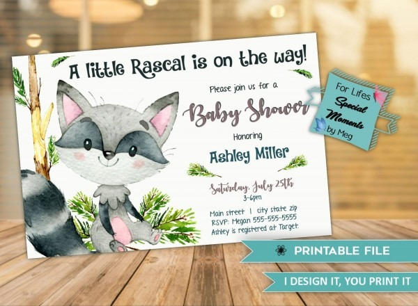 Raccoon Baby Shower Invitation, Little Rascal, Custom Baby Shower