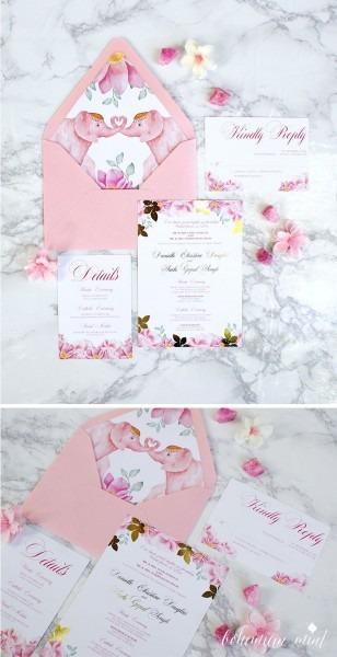 Blush Pink Gold Foil Wedding Invitation