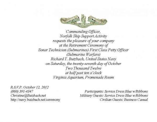 Military Retirement Ceremony Invitations