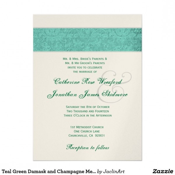 Teal Green Damask And Champagne Metallic Invitation