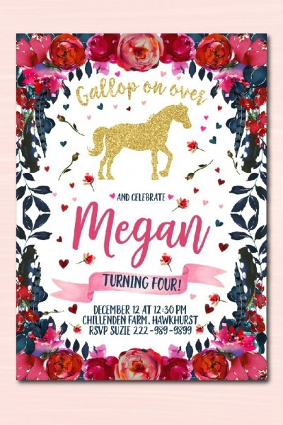 Gold And Red Horse Invitation, Horse Birthday Party Invitations