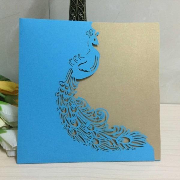 New Blue Hollow Peacock Laser Cut Wedding Invitation Cards,wedding