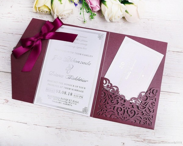 2019 New 3 Folds Wedding Burgundy Invitations Cards With Burgundy