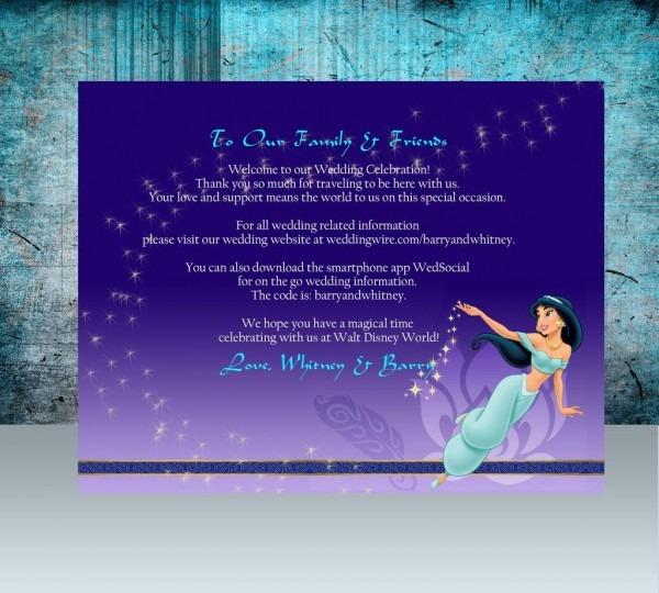 Disney's Jasmine Welcome Note, Birthday Invite, Brief Itinerary