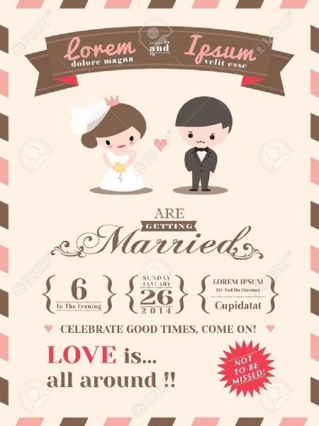 Wedding Invitation Card Template With Cute Groom And Bride Cartoon