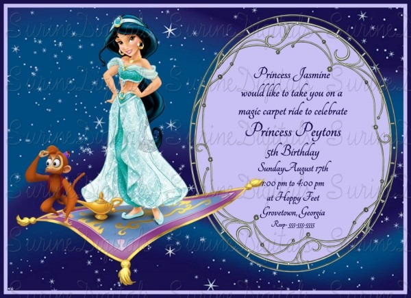 Princess Jasmine Magic Carpet Ride Birthday Party Invitation