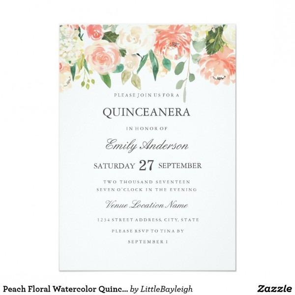 Peach Floral Watercolor Quinceanera Invitation
