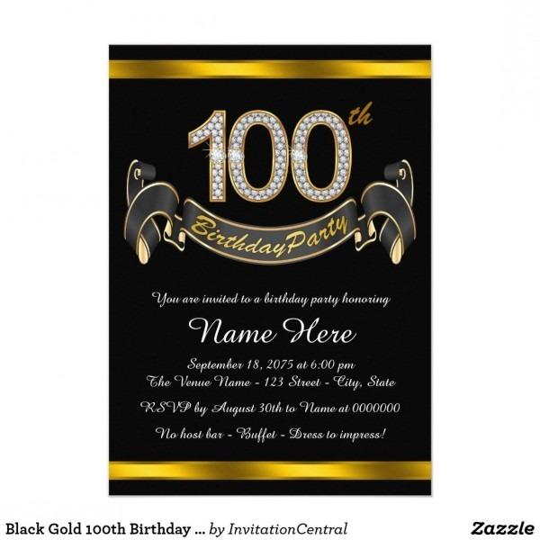 Black Gold 100th Birthday Party Invitation
