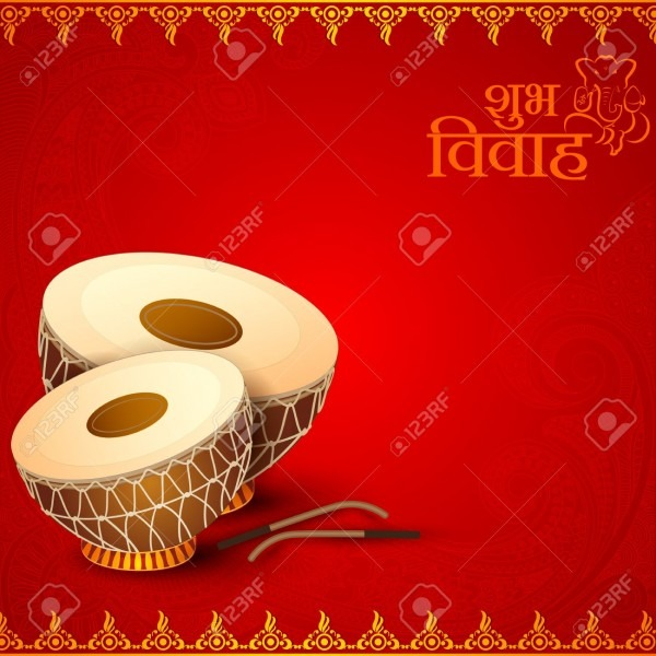 Vector Illustration Of Drum In Indian Wedding Invitation Card