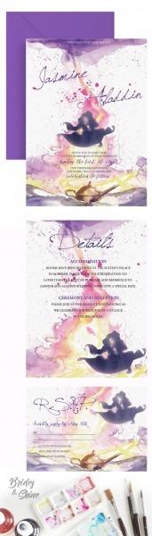 Jasmine Aladdin Watercolor Wedding Invitation