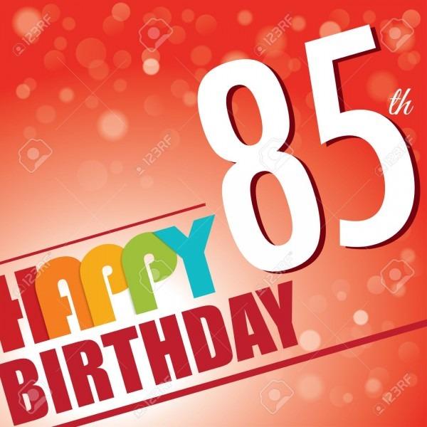 85th Birthday Party Invite Template Design In Bright And Colourful