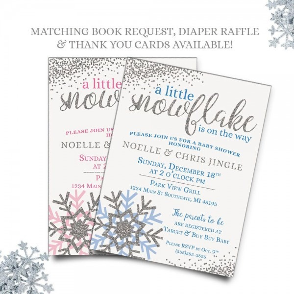 Winter Baby Shower Invitations, A Little Snowflake Is On The Way