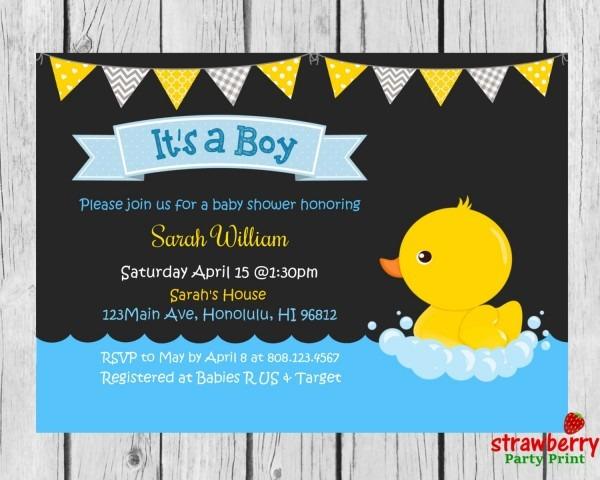 Rubber Duck Baby Shower Invitation, Chalkboard Rubber Ducky Invite