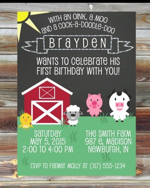 Farm Theme First Birthday Invitation Digital Custom By Viabarrett
