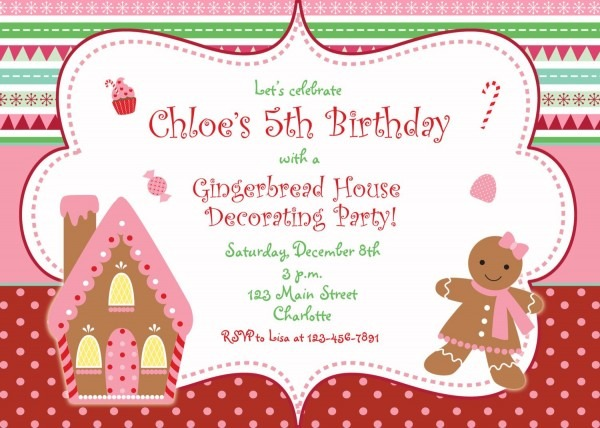 Gingerbread House Christmas Party Invitation