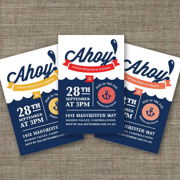 Ahoy Nautical Birthday Invitation For Kids Party, Pirate Theme 3rd